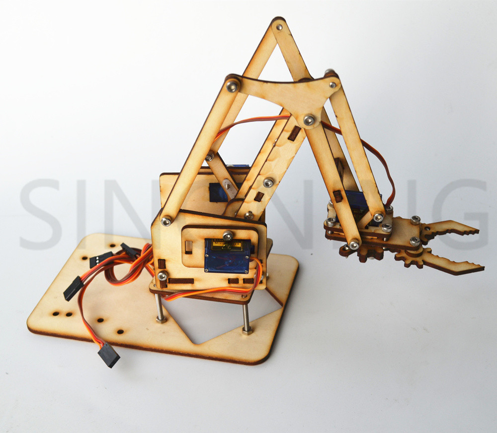 4 DOF wood robotic arm sg90 Servo FOR arduino raspberry pi SNAM1500