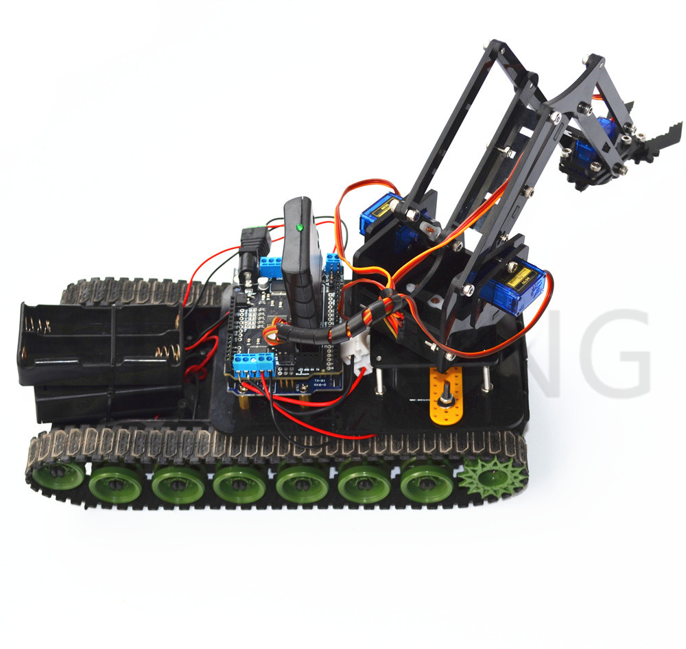 Remote control robot tank arm fire arduino ps mearm